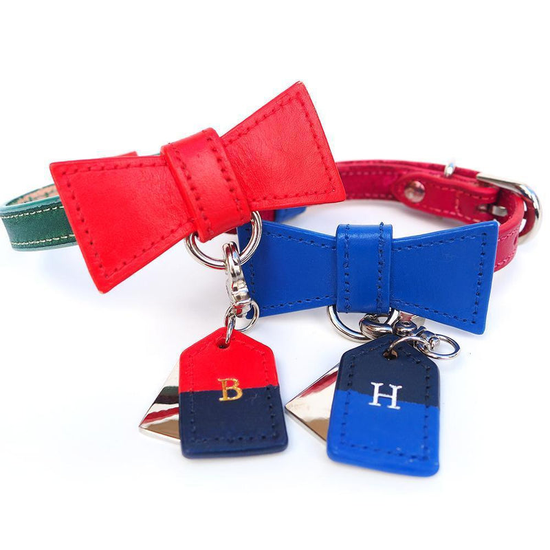 Red and Blue Christmas Custom Leather Dog Collar with Bow Tie and Monogram - Bespoke Leather Dog Collar Made in Australia