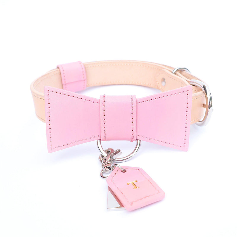 Baby Pink Custom Leather Dog Collar with Bow Tie and Monogram - Bespoke Leather Dog Collar Made in Australia