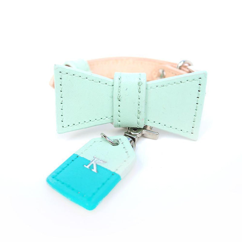 Mint Green and Turquoise Custom Leather Dog Collar with Bow Tie and Monogram - Bespoke Leather Dog Collar Made in Australia with Dog Tag