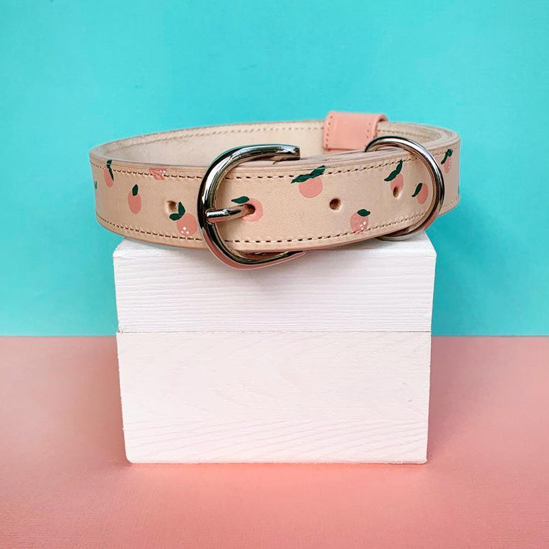 Custom Peaches Leather Dog Collar with Bow Tie Made in Australia