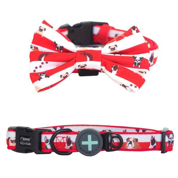 Dog wearing Red Dog Collar with Bow Tie with Pugs, French Bulldogs, Bulldogs, Boston Terrier Print all over designed in Australia. Dog Collar for Pugs.