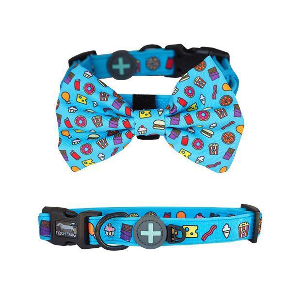Blue Dog Collar with bow tie with junk food print all over