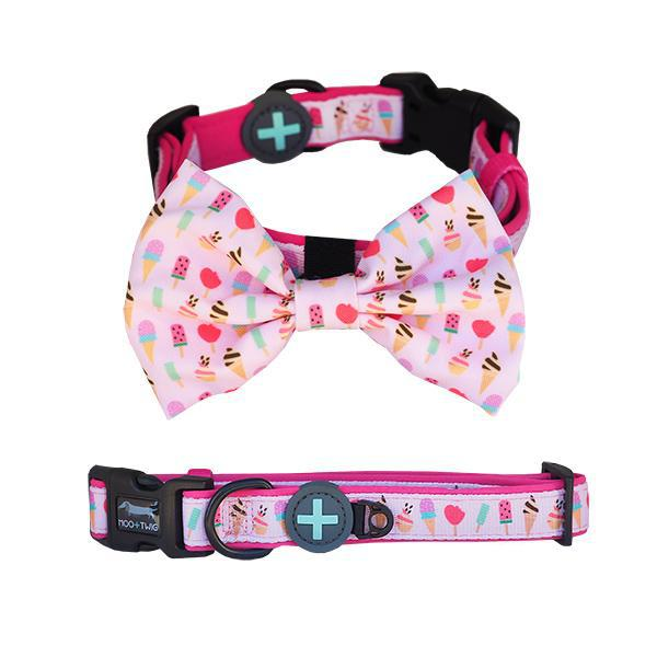 DOG COLLAR with Bow Tie - Sweet Treat, Collars - MOO AND TWIG