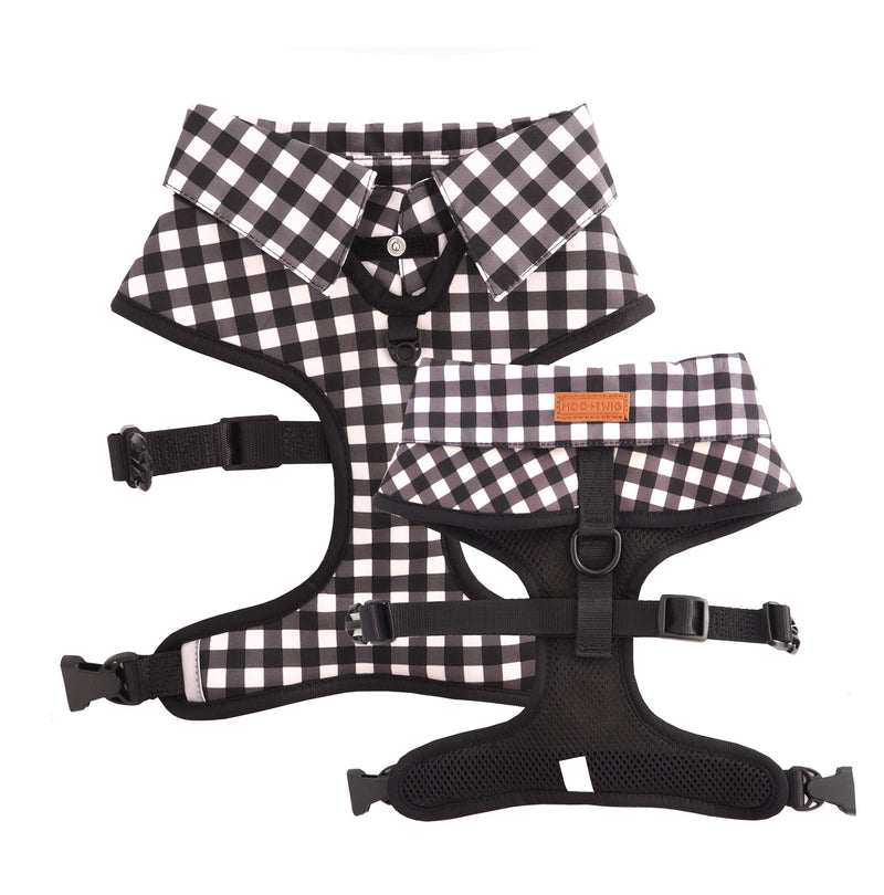 Dog wearing Dog Harness Shirt with Gingham Print and Bow Tie.Work and wedding outfit for dogs. Designed in Australia.