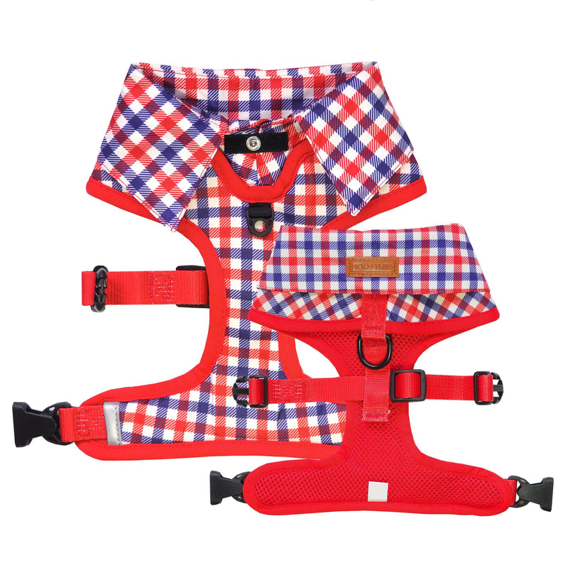 Checkered Blue Red White Shirt Dog Harness with Bow Tie Designed in Australia