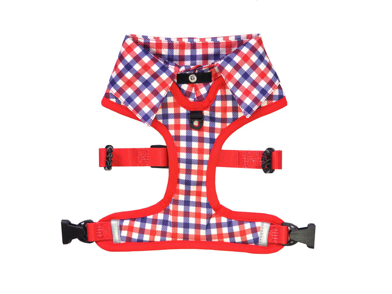 Checkered Blue Red White Shirt Dog Harness with Fire Hydrant Bow Tie Designed in Australia. Work and wedding outfit for dogs.