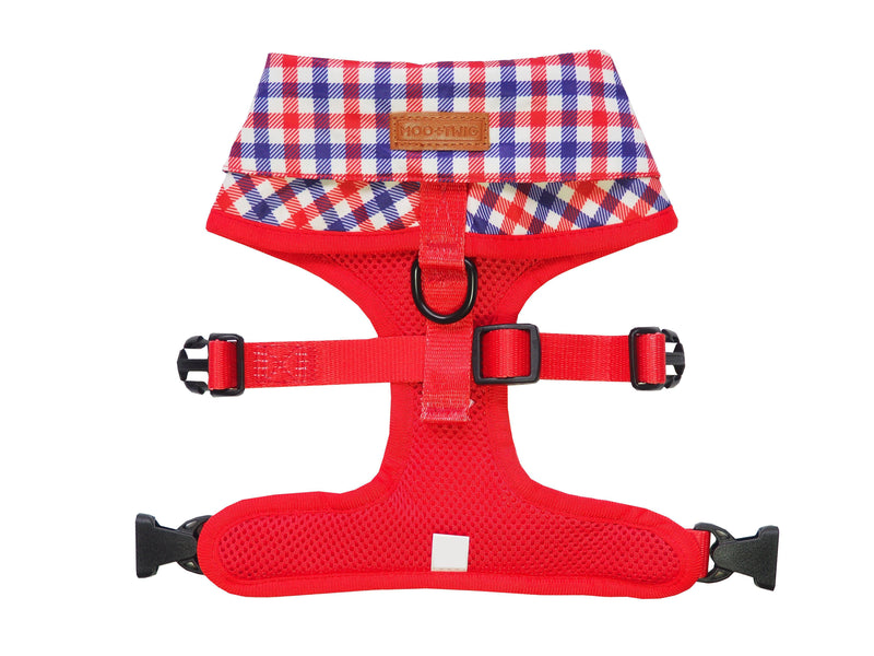Checkered Blue Red White Shirt Dog Harness with Fire Hydrant Bow Tie Designed in Australia