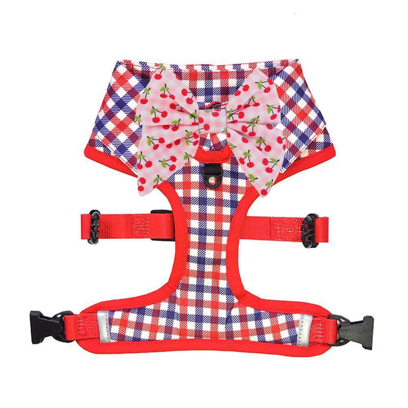 Checkered Blue Red White Shirt Dog Harness with Bow Tie Designed in Australia. Work and wedding outfit for dogs.