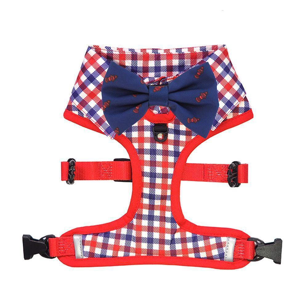 Checkered Blue Red White Shirt Dog Harness with Fire Hydrant Bow Tie Designed in Australia. Work Wedding outfit for Dogs.