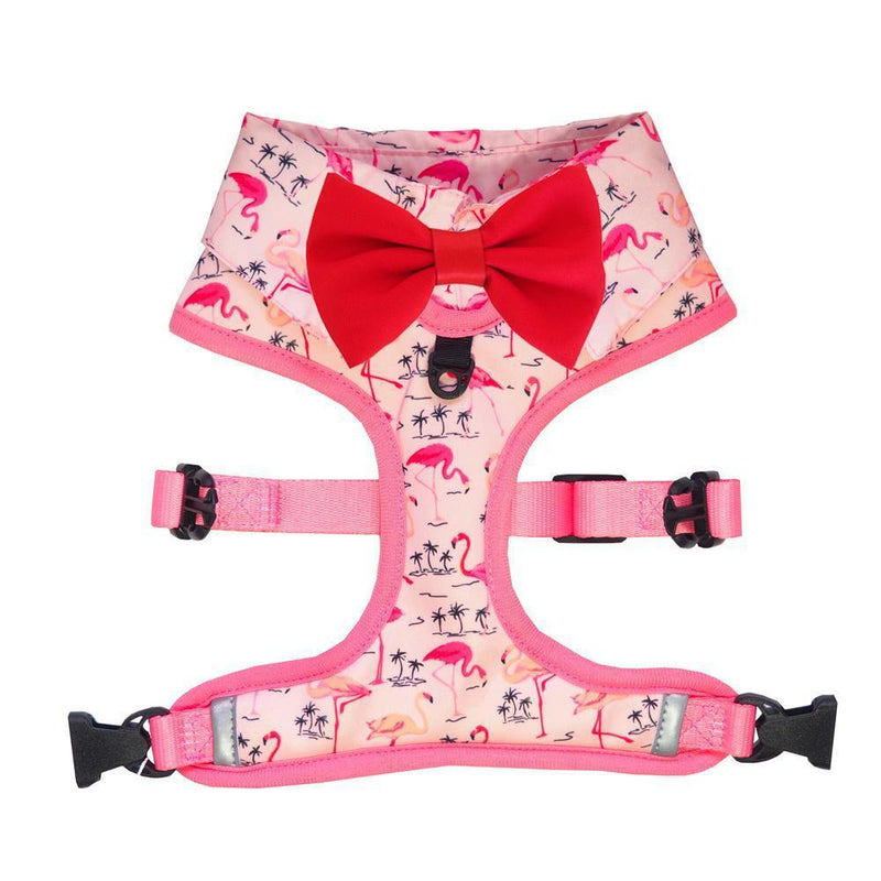 Pink Party shirt Dog Harness with flamingo print and bow tie. Dog party shirt outfit. Summer dog harness designed in Australia.
