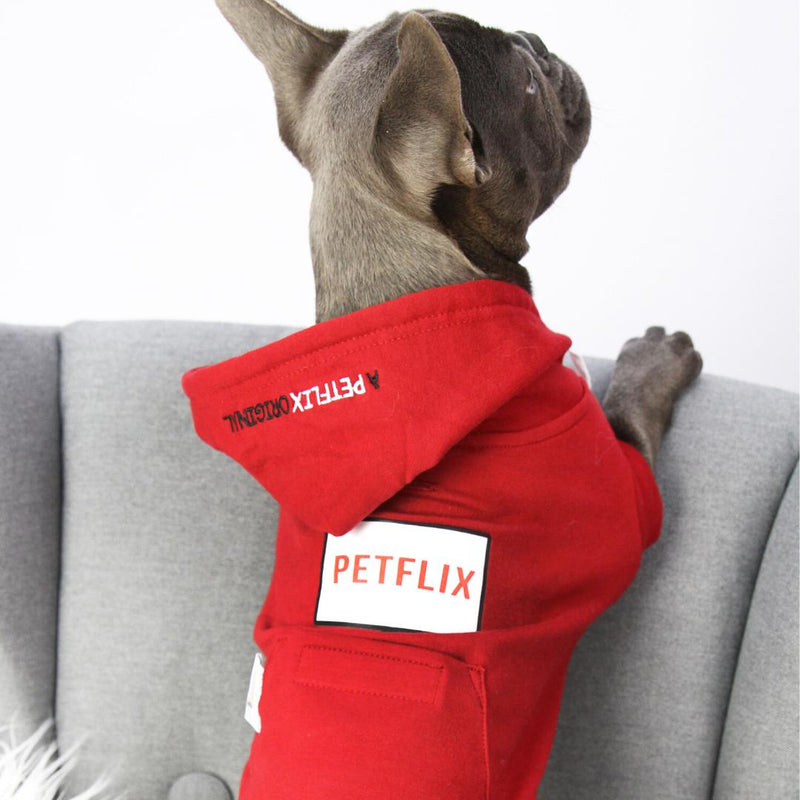 Dog Wearing Red Netflix Original Dog Hoodie