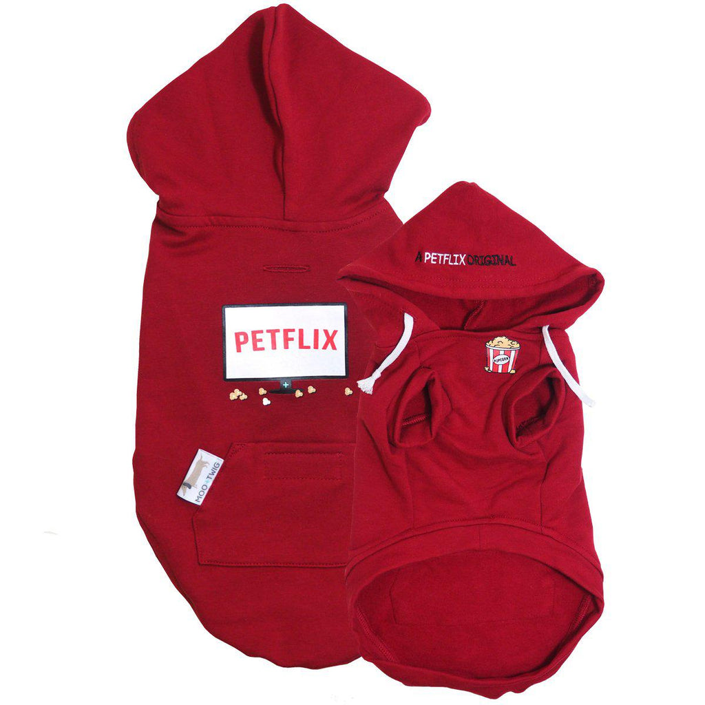 Red Dog Hoodie with Petflix Text - A Netflix Original Dog Hoodie - Petflix Dog Hoodie