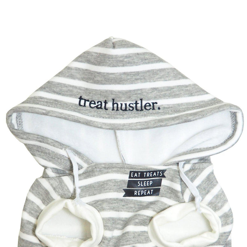 Dog Wearing Grey Striped Comfy Dog Hoodie with Text 'Treat Hustler' and 'Eat Treats, Sleep, Repeat'