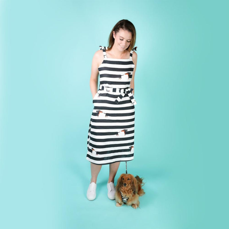 Linen Midi Dress with Dachshund Print - Linen Tie Up Midi Dress with Pockets - Dachshund Dress - Striped Summer Linen Midi Dress