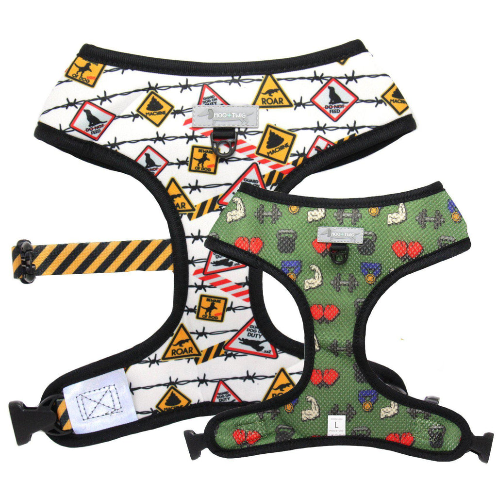Reversible Dog Harness with signs, gym junkie, warnings, barbells, barbed wire. Funny dog harness.