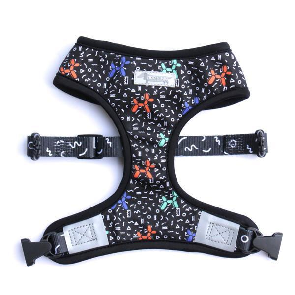 Black Reversible Dog Harness Designed in Australia Featuring Balloon Dogs and Memphis Pattern