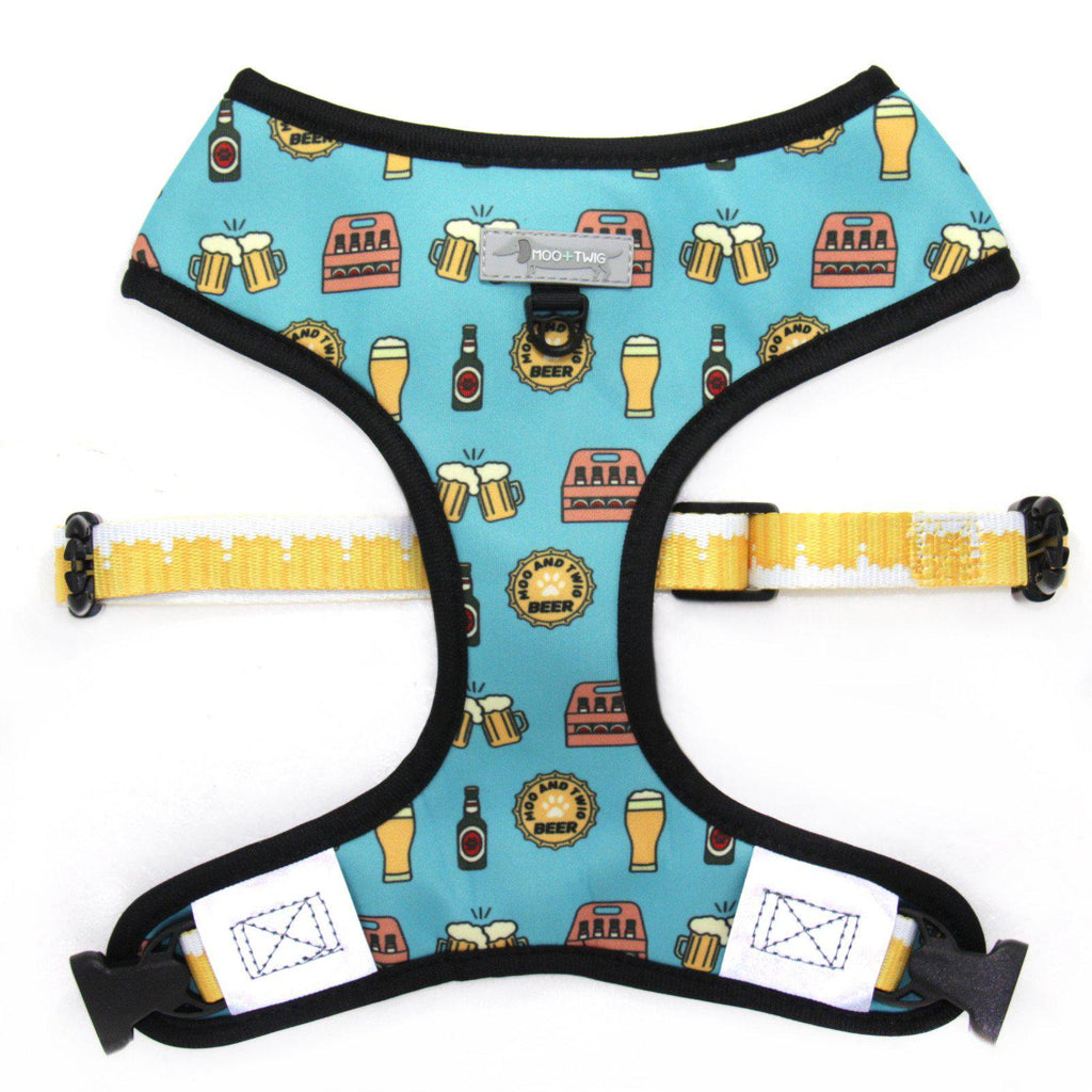 Blue Reversible Dog Harness Designed in Australia featuring beer and video games. Geek Dog Harness. Boy Dog Harness