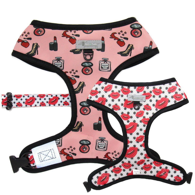 Pink Dog Harness designed in Australia featuring make up, shoes, perfume and kisses. Girly dog harness. Fashion dog harness.