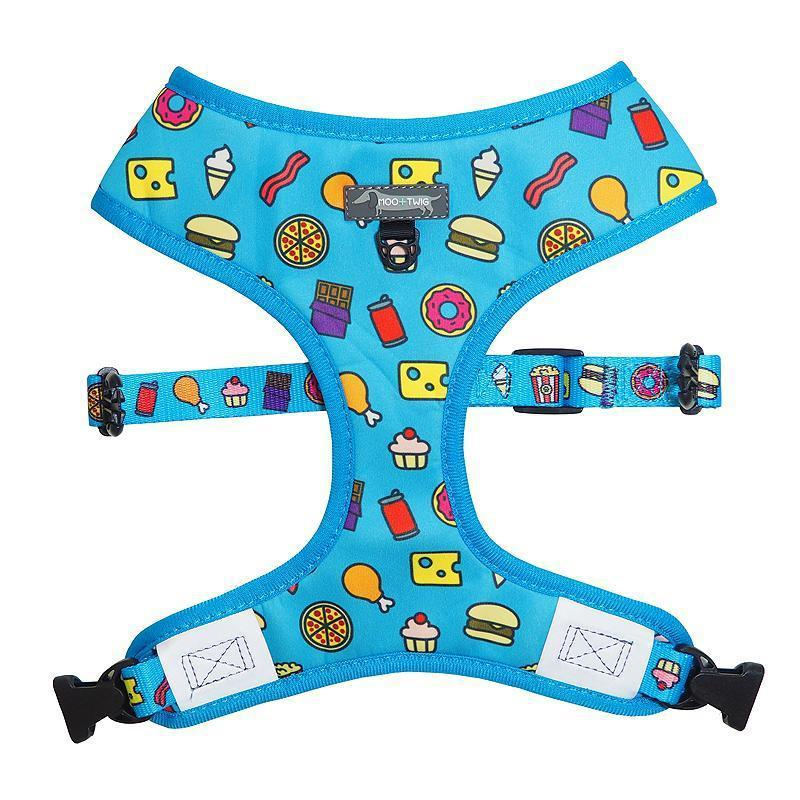 Blue dog harness with junk food and french fries designed in Australia