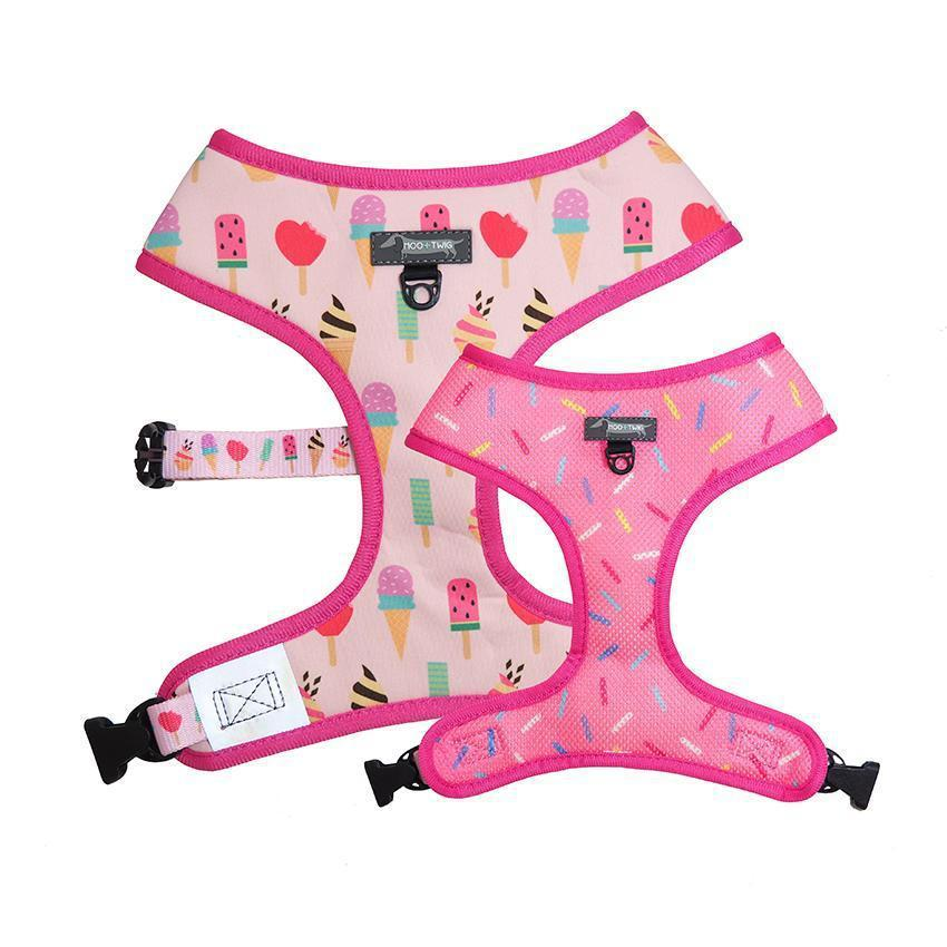 Pink dog harness with ice cream and donut sprinkles designed in Australia.