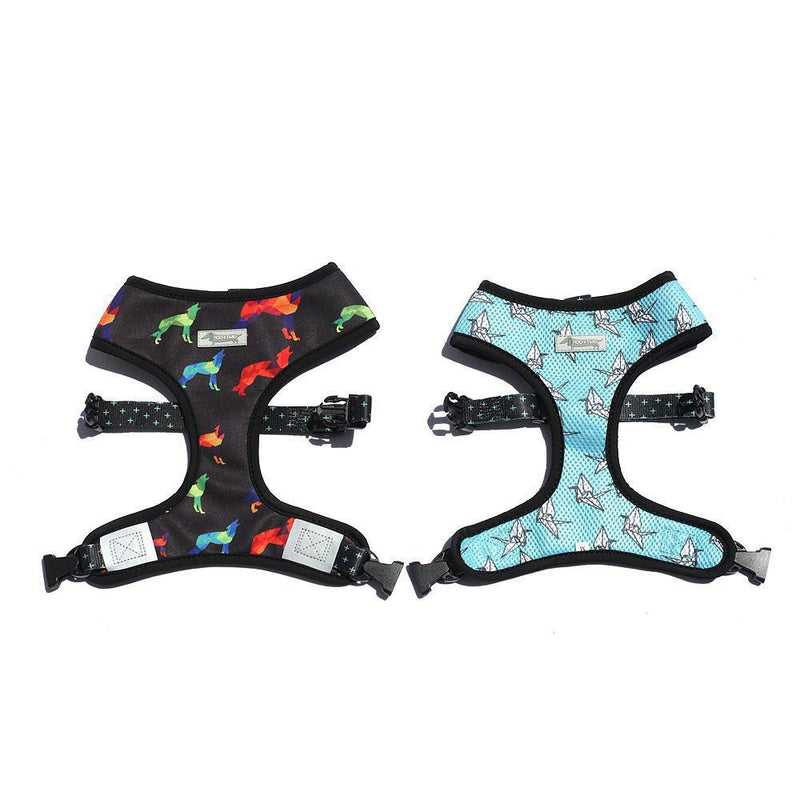 REVERSIBLE DOG HARNESS - Woolf, Woolf + It's Raining Cranes, Harnesses - MOO AND TWIG