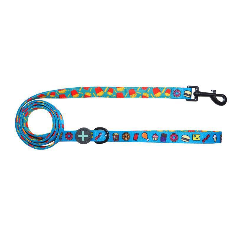 Blue Neoprene Comfort Dog Leash with junk food and french fries.
