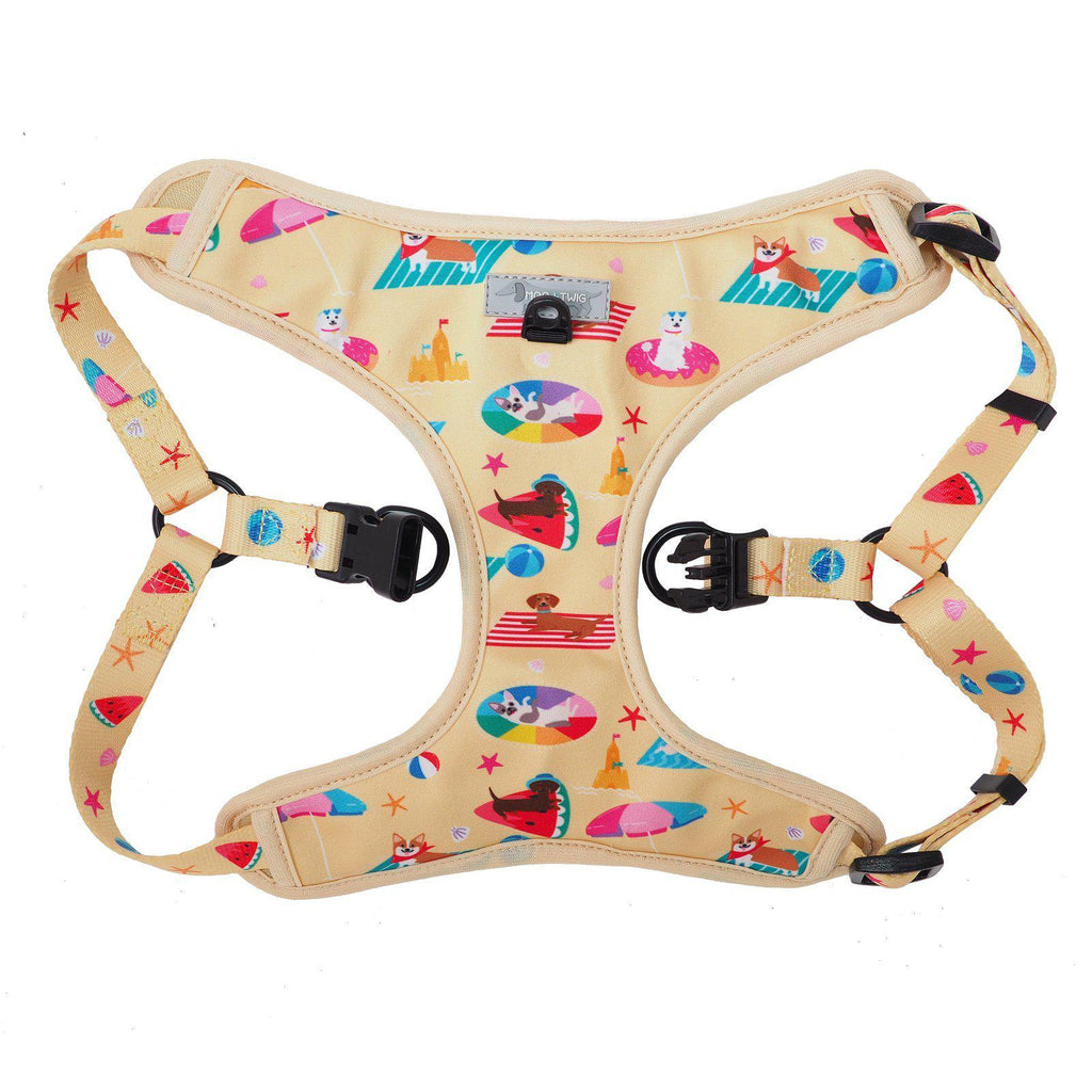 Step In Dog Harness - Yellow No Choke Dog Harness Designed in Australia with Dog Print all over. Summer step in dog harness.