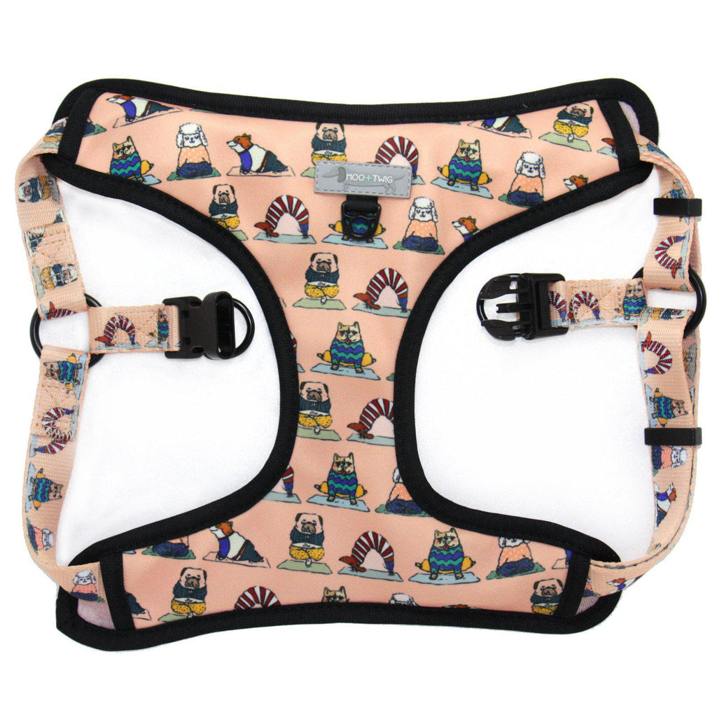 Yoga Dog Doga Peach Step In Dog Harness with Dogs doing Yoga print. No choke dog harness designed in Australia.