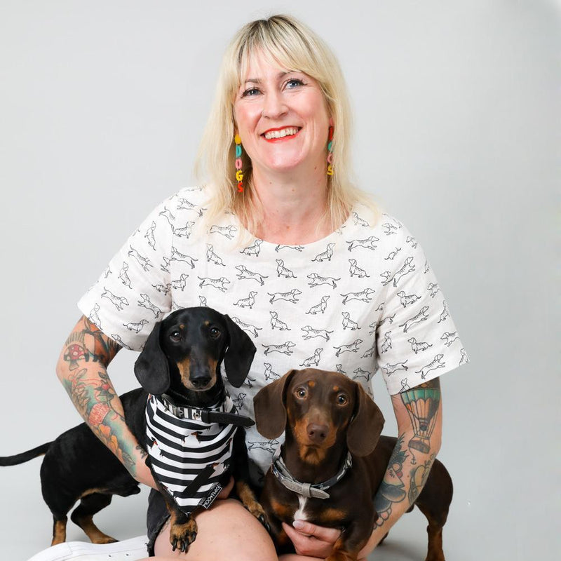 Natural Linen Dachshund Print Top - Woman wearing dachshund shirt - Linen Boxy Blouse with Dachshund Print - Dachshund Blouse