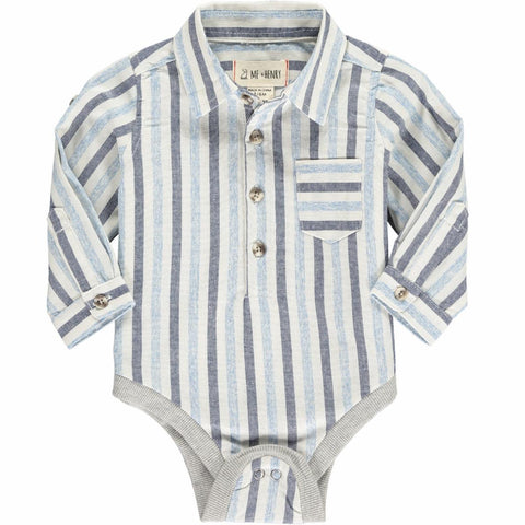 Blue Multi Stripe Plaid Woven Onesie - Me + Henry Fall 2019  344b