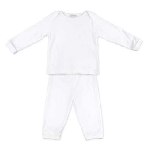 2 Piece Loungewear - Magnolia Baby Essentials White w/ White Trim