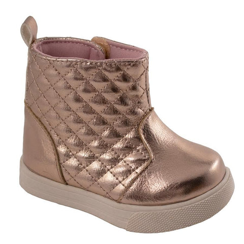 Rose Gold Quilted Hi-Top Boots - Trimfoot Baby Deer