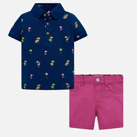 Flamingo Polo & Magenta Shorts Set Boys: Mayoral 1254