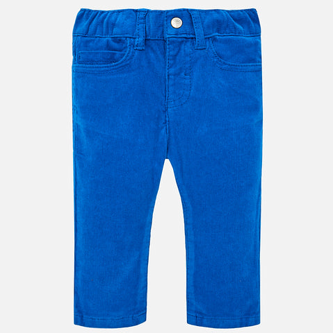 Boy Corduroy Slim Pants in Imperial Blue - Mayoral 502 -Fall 2018