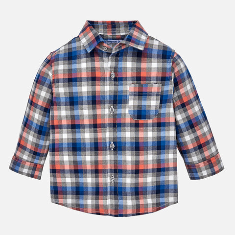 Boy Checked Button Down - Mayoral 2142 Paprika-Fall 2018