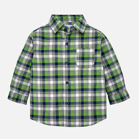 Boy Checked Button Down - Mayoral 2142 Biogreen -Fall 2018