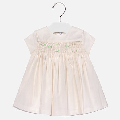 Glitter Off White Tulle Dress w/ Rosettes - Mayoral Girl 2932