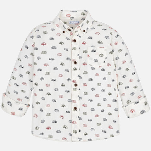 Boy Cream Button Down w/ Campers - Mayoral 4156