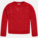 Red Sweater with Pearls - Mayoral Tween 7310 Red -Fall 2018