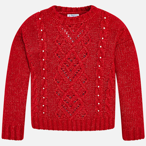 Red Sweater with Pearls - Mayoral Tween 7310 Red