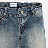 Denim Jeans with Glitter & Stud Details - Mayoral Tween Girl 7538 - Fall 2018