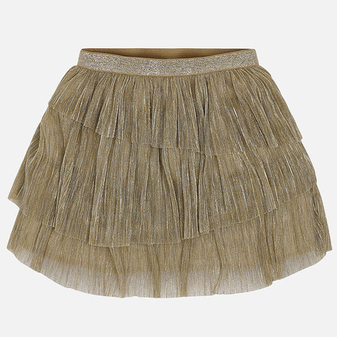 Gold Pleated Skirt - Mayoral Tween Girl 7902  - Fall 2018