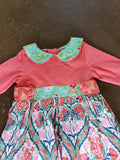 Sage & Lilly Ruffle Bib Dress/Peter Pan Collar Calypso Coral Print 6155