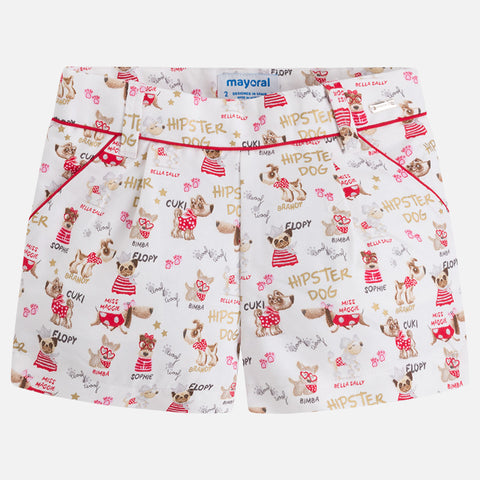 Puppy Print Shorts Girls 3206 Mayoral Spring 2018