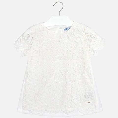 Tween White Lace Blouse 6102 Mayoral