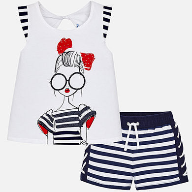 Navy Striped Short Set Girls 6228 - Mayoral