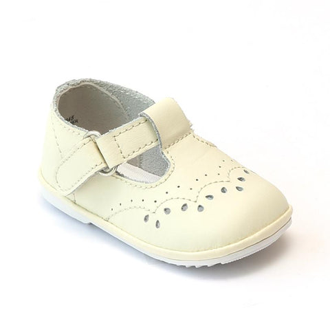 T-Strap Mary Jane - Ecru by: Angel Baby Shoe 2945