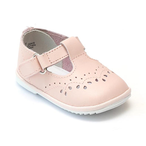 T-Strap Mary Jane - Pink  by: Angel Baby Shoe 2945