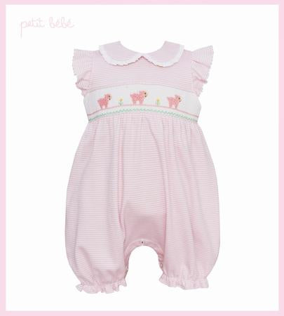 Baby Lambs Ruffle Sleeve Bubble w/ Collar in Light Pink Stripe - Petit Bebe  805