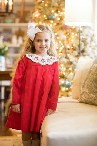 Anne Red Wreath Dress - The Oaks Apparel 5527
